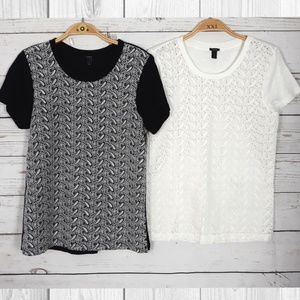 J.Crew Lace T-Shirt Bundle of 2 Black & White